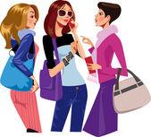Tjattrande kvinnor — Stockvektor