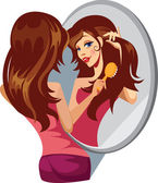 Girl combing her hair before a mirror — Stock Vector