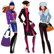 Vector de stock : Fashion women in winter clothes