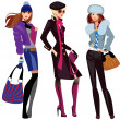 Fashion women in winter clothes — Vector de stock #13875514