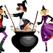 Three funny witches preparing a potion — Stock Vector #13875515