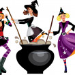 Stock Vector: Three funny witches preparing a potion
