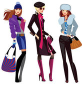 Fashion women in winter clothes — Stock Vector