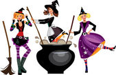 Three funny witches preparing a potion — Stock Vector