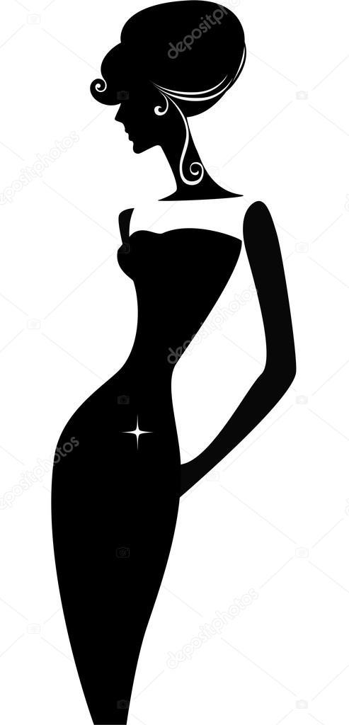 Silhouette of elegant woman in Facebook Profile Picture Silhouette Female