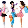 Three fashion girls - Stock Vector