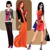 Three fashion women — Stock Vector