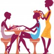 Women in a beauty salon getting a manicure — Stock Vector