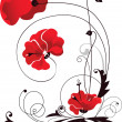 Decorative vector image of the red flowers — Stock vektor