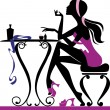 Pretty female sitting at dressing table - Stock Vector