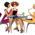 Lunch. women — Stock Vector