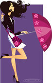 Meisje met paraplu — Stockvector