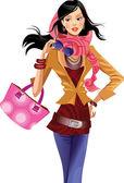 Fashion girl with pink bag — Stock Vector