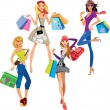 Fashion shopping girls — Stock Vector #25069671