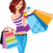 Stock Vector: Shopping girl