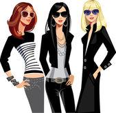 三个时尚眼镜中的女孩 — 图库矢量图片