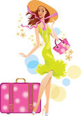 Beautiful woman in hat and suitcase — Stock Vector