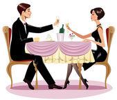 Loving couple in restaurant — Stock Vector
