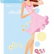 Woman of summer travel theme. Vector illustrations — Stock Vector #28611185