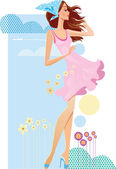 Woman of summer travel theme. Vector illustrations — Stock Vector