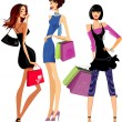 Fashion girls shopping — Stock Vector