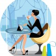 Beautiful woman sitting in a cafe with tablet computer — Stock Vector