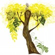 Yellow tree illusration — Stock Vector