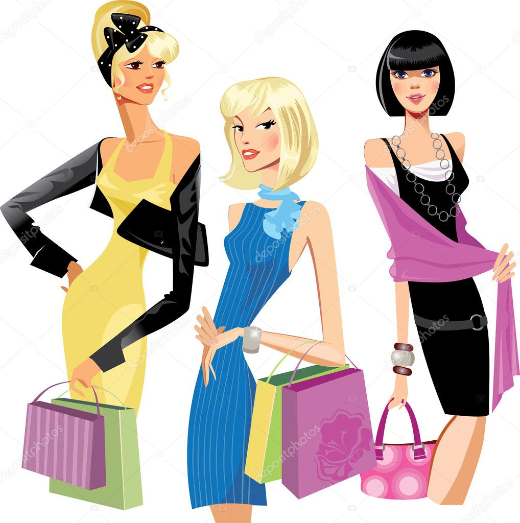 Three Fashion Women Stock Vector Filitova 32883413