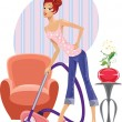 Housewife with a vacuum cleaner — Stock Vector