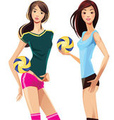 Two sports girl with volleyballs — Stock Vector