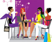 Girlfriends at lunch — Stock Vector
