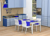 Kitchen - shades of blue — Stock Photo