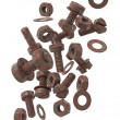 Drop rusty bolts, screws and washers — Stock Photo #13996585