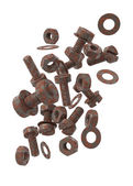 Drop rusty bolts, screws and washers — Stock Photo