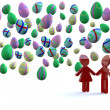 Love under easter eggs — Stock Photo