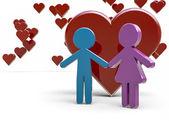Couple under hearts — Stock Photo