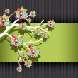 Royalty-Free Stock Vector Image: Stylized Tree with Colorful Blossoms