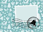 グランジ スタンプ付きクリスマス パターン カード — ストックベクタ