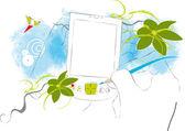 Abstrakt blumen touchpad abbildung mit freiem speicherplatz für ihre begrüßung — Stockfoto