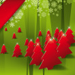 Royalty-Free Stock Vector Image: Holiday Illustration with Red Pine Trees in Green Background