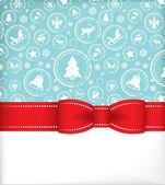 Vánoční přání s červenými dar luky s pásky — Stock vektor