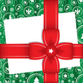 рождественская открытка с бантами подарок красное с лентами — Cтоковый вектор