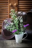 Flower vase with leather — Stock Photo