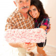 Stock Photo: Father and daughter renovating home