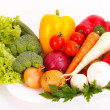 Fresh vegetables on plate - Stock Photo