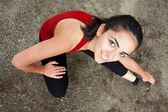 Stretching girl — Stock Photo