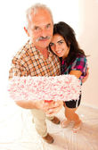 Father and daughter renovating home — Stock Photo