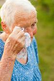 Crying elderly woman — Stock Photo