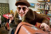 Старый стильный путешественников — Стоковое фото