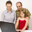 Stock Photo: Family and laptop